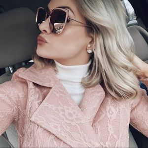 Jackets & Blazers - Misty Rose Lace Trench Coat